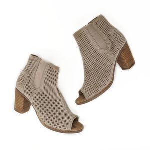 Toms Majorca Desert Sand Peep Toe Booties size 7.5